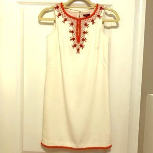 Ann Taylor 00P White & Coral Beaded Summer Dress